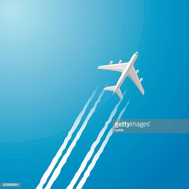 airplane white trace - vapor trail stock illustrations, clip art, cartoons, & icons
