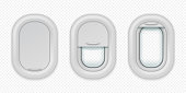 Airplane windows. Realistic aircraft porthole in different positions, open closed and half closed. Vector isolated design template