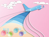 airplane with beach background  paper cut style .candy color vector style.