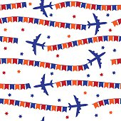 Airplane with colorful flags seamless pattern