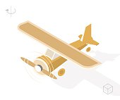 Airplane with Shadows on White Background.