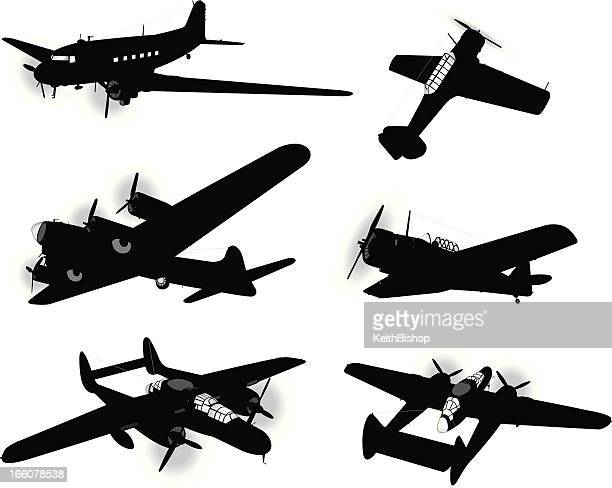 us airplanes, air force - bombers and trainers, armed forces - world war ii stock illustrations