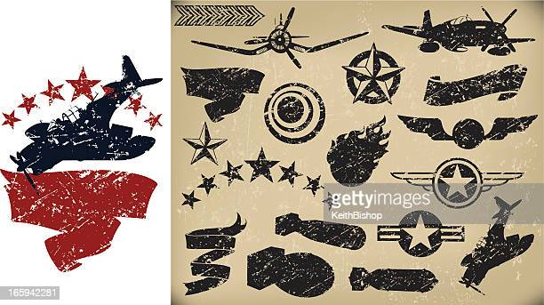 us airplanes, air force - grunge fighters, banners. stars - world war ii stock illustrations
