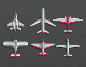 Airplanes and military aircraft top view. 3d airliner and fighter vector icons