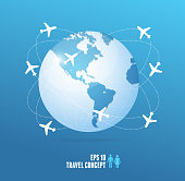 Airplanes flying around the globe. Travel concept