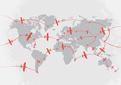 Airplanes on world map