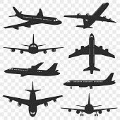 Airplanes silhouettes set. Plane silhouette isolated on transparent background. Passenger aircraft in different angles. Vector eps 10.