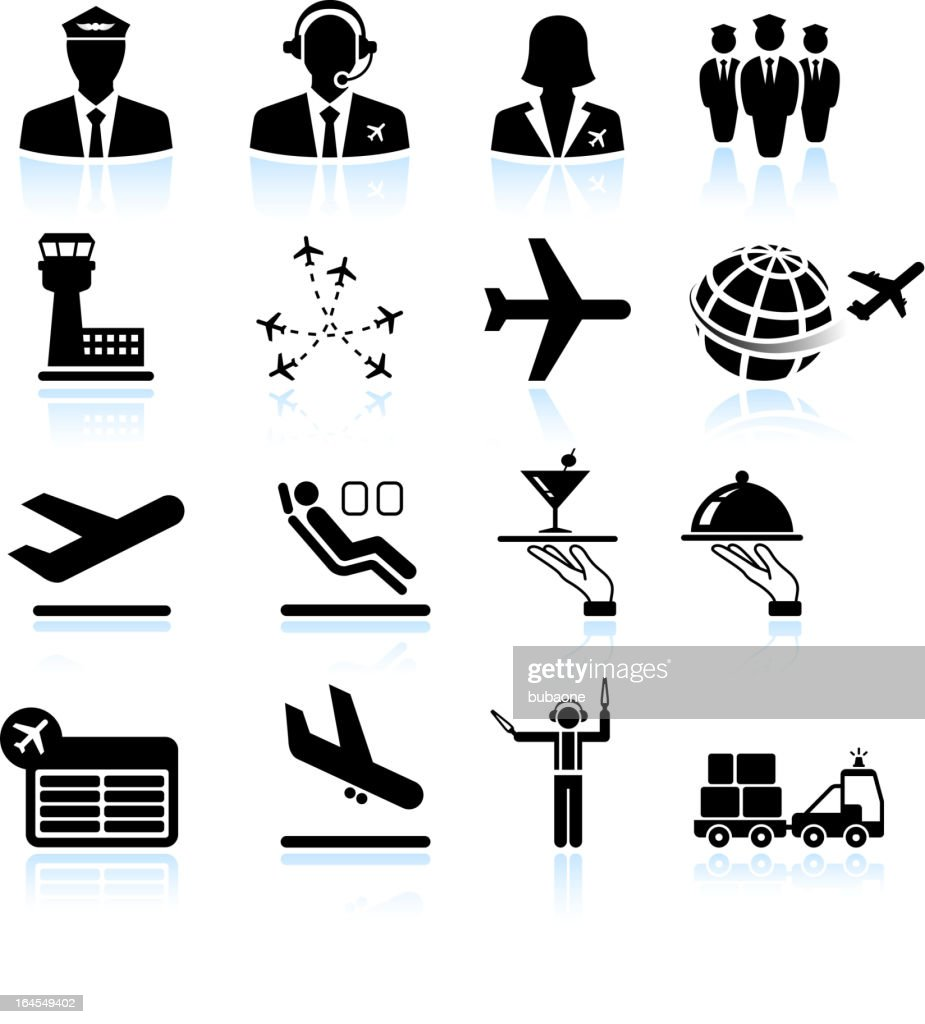 Airport air travel and business trip royalty free vector icons : stock illustration