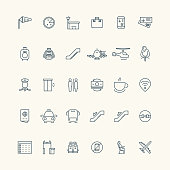 Airport and aviation line icon collection