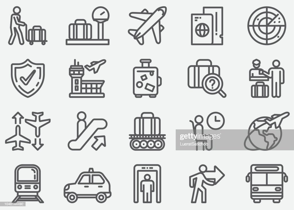 Airport and Transportation Line Icons : stock illustration