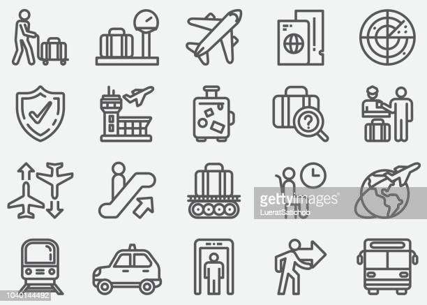airport and transportation line icons - leaving stock illustrations