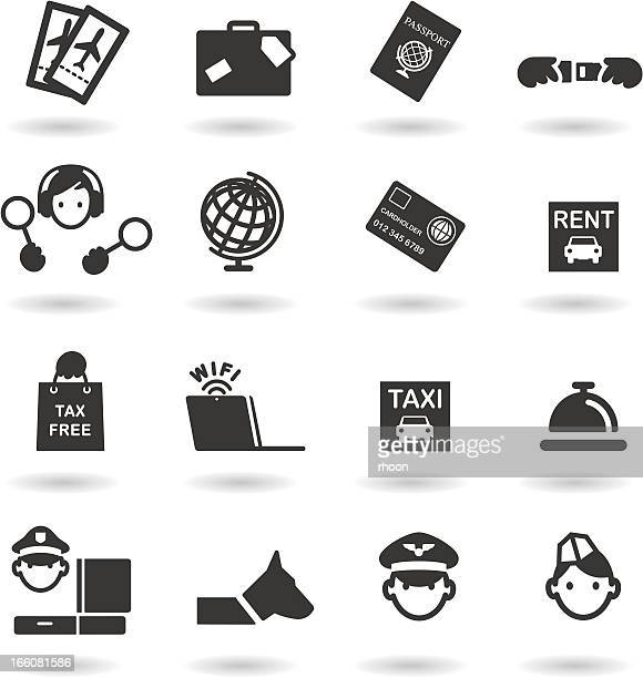 airport and travel icons - duty free stock illustrations