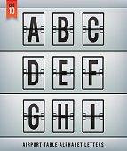 Airport arrival table alphabet. Vector illlustration.