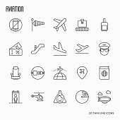 Airport, aviation and tourism simple thin line icons. Vector illustration.