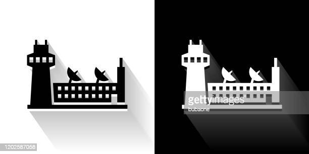 airport  black and white icon with long shadow - military base stock illustrations