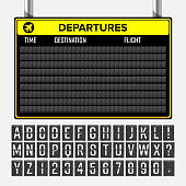 Airport Board Vector. Mechanical Timetable Information Alphabet. Aalog Font