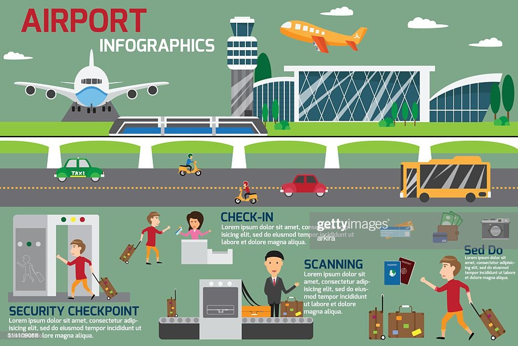 Airport business infographics template and travel element. vecto