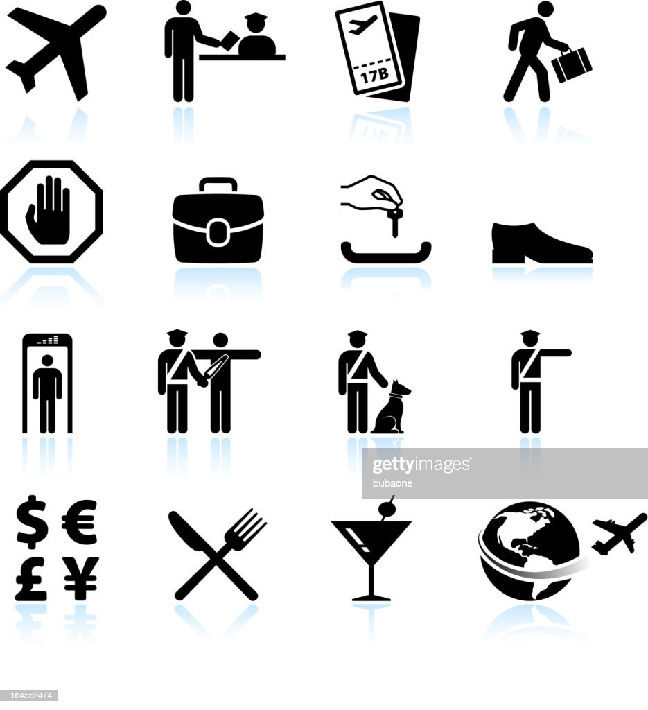 Airport Check In Process And Business Travel Vector Icon Set Vector