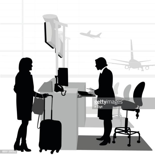 airport check in - airport terminal stock illustrations, clip art, cartoons, & icons