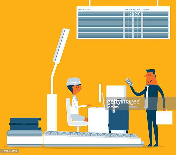 ilustraciones, imágenes clip art, dibujos animados e iconos de stock de check-in - aeropuerto