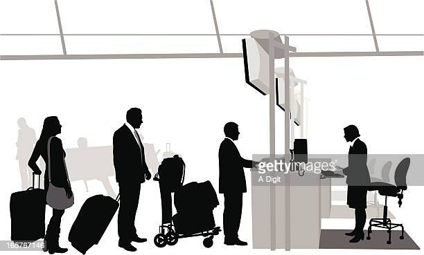 Airport CheckIn Vector Silhouette