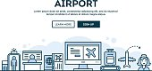 Airport, concept header, flat design thin line style