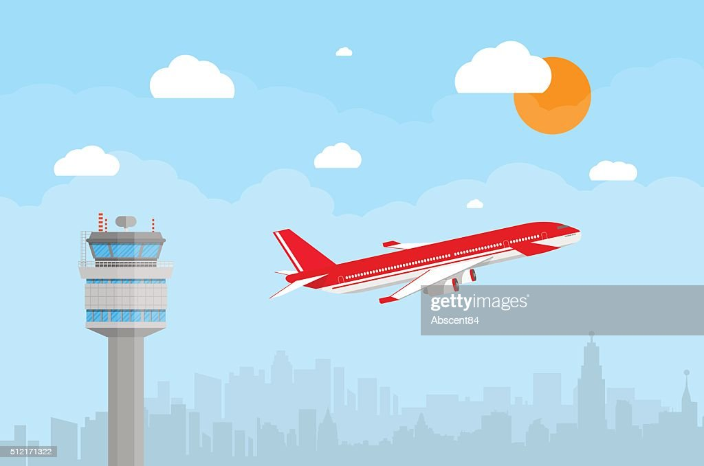 airport control tower and flying airplane