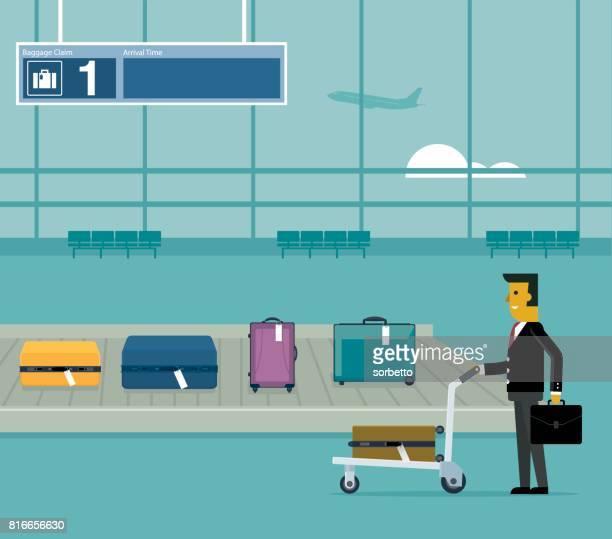 airport conveyor belt - businessman - airport terminal stock illustrations, clip art, cartoons, & icons