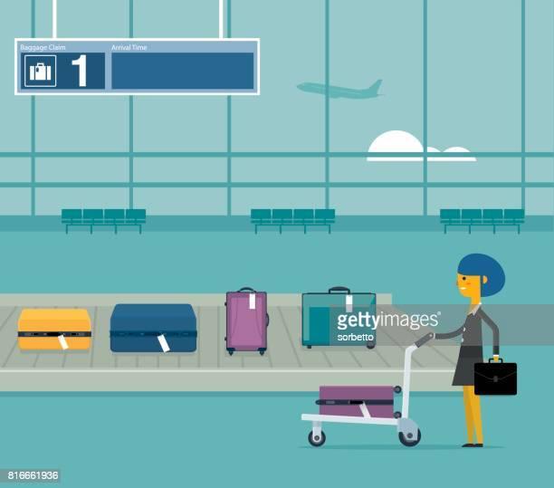Airport conveyor belt - Businesswoman