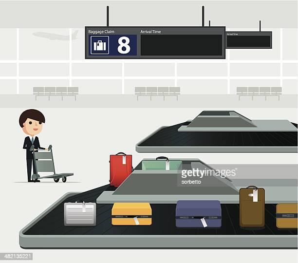 airport conveyor belt - airport terminal stock illustrations, clip art, cartoons, & icons