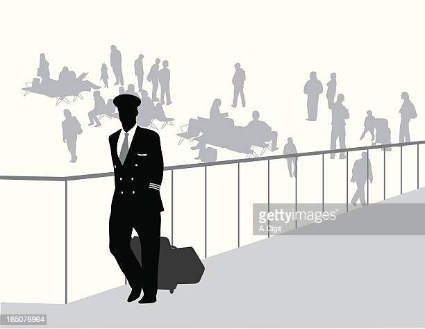 Airport Crowd Vector Silhouette