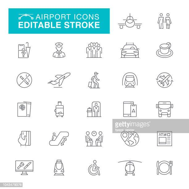 airport editable stroke icons - leaving stock illustrations