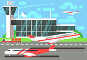 Airport flat vector illustration