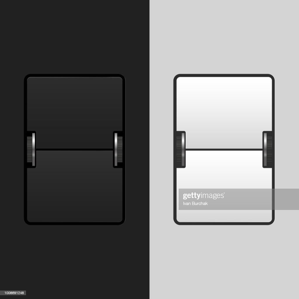 Airport Flip Board, Mechanical Timetable. Black and Light Vector Design Elements Set for You Design