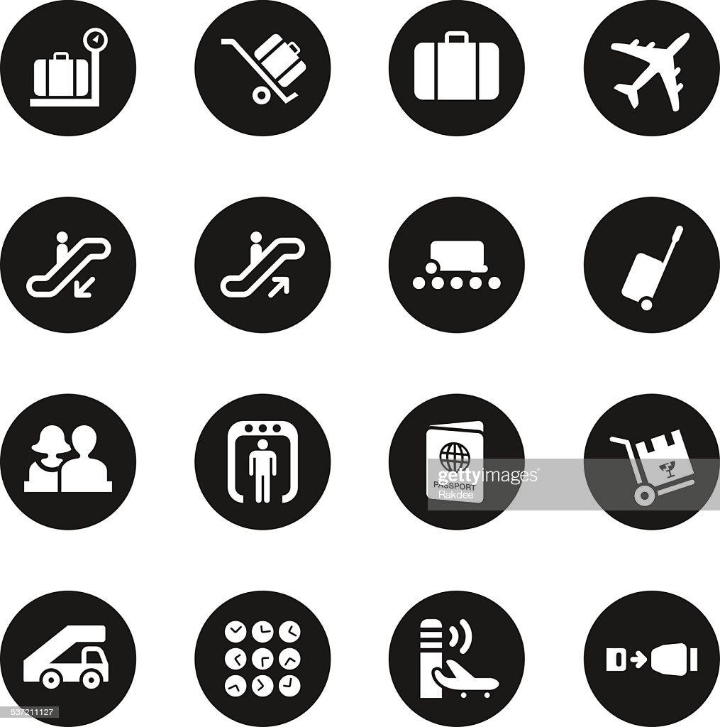 Airport Icons - Black Circle Series