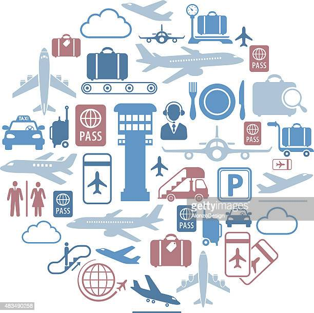 airport icons collage - airport terminal stock illustrations, clip art, cartoons, & icons