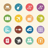 Airport Icons - Color Circle Series