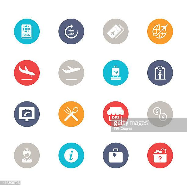 airport icons | multicolor circle series - travel tag stock illustrations, clip art, cartoons, & icons