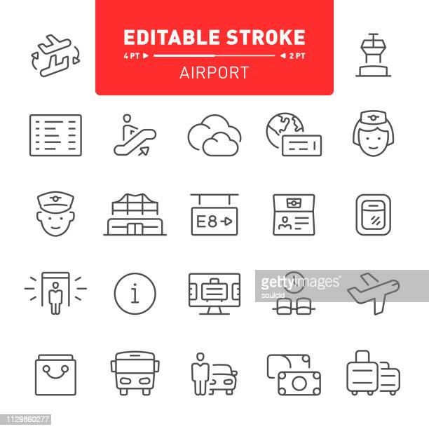 airport icons - airport terminal stock illustrations, clip art, cartoons, & icons