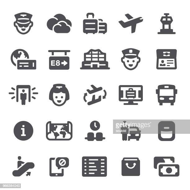 airport icons - metal detector security stock illustrations