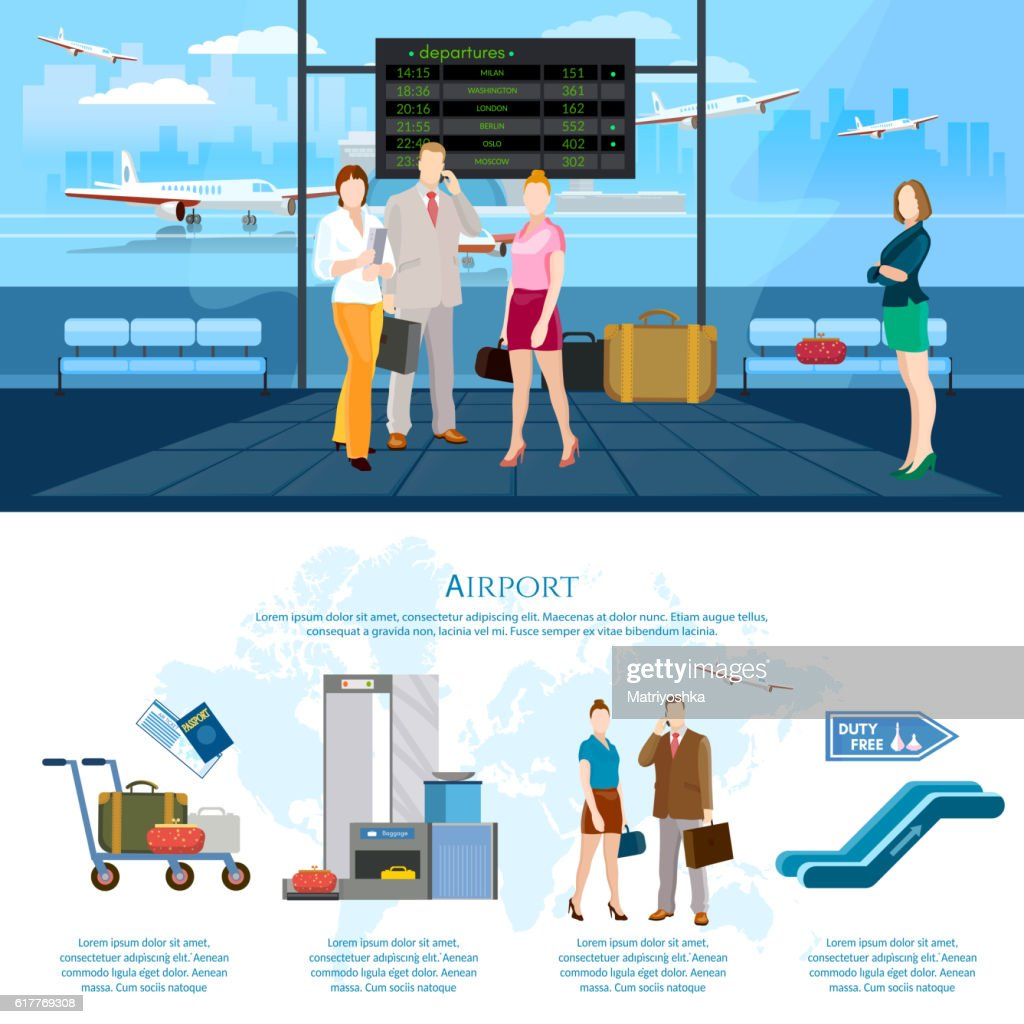 Airport infographics international airlines
