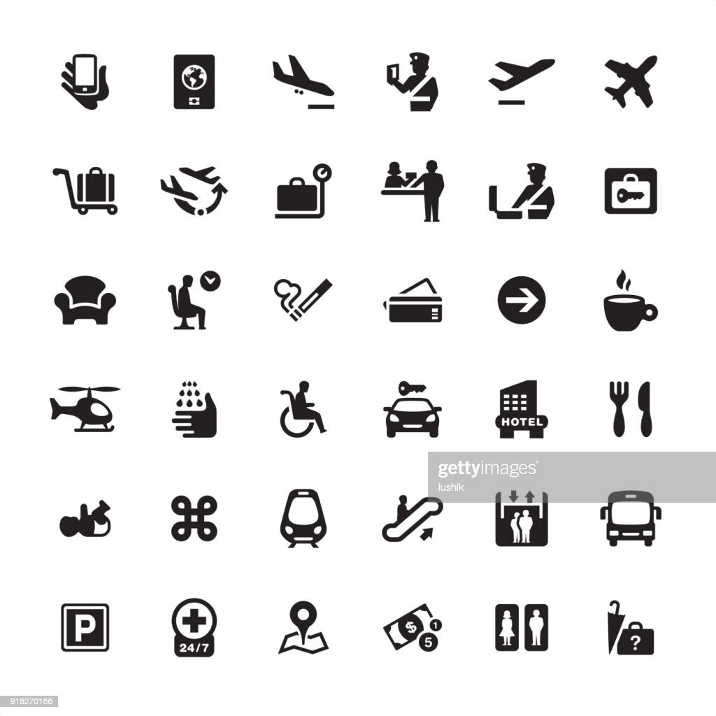 Airport Information icons pack : Stock Illustration