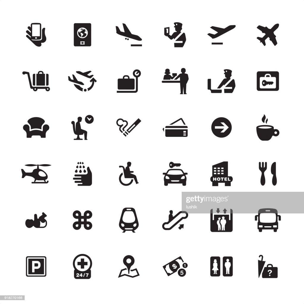 Pack de iconos de información de aeropuerto : Ilustración de stock