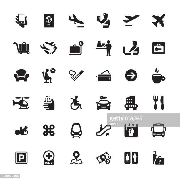 airport information icons pack - train vehicle stock illustrations
