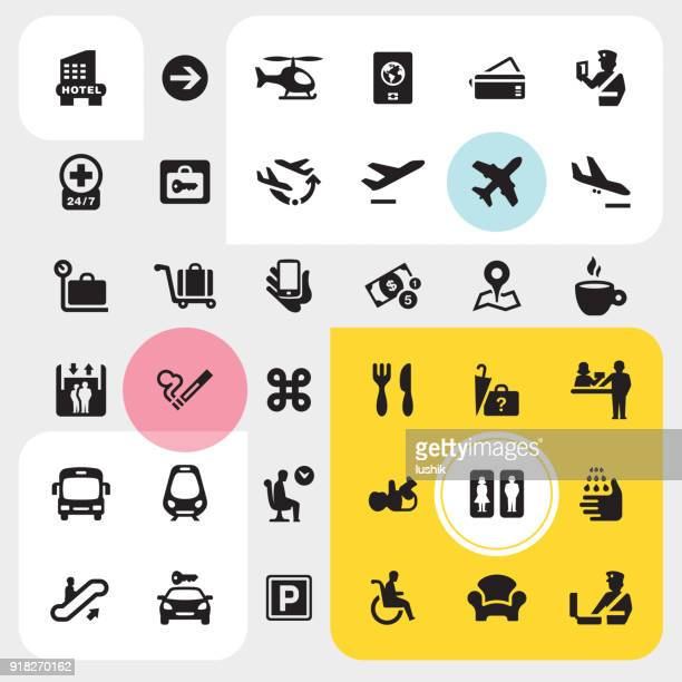 airport interface icons set - boarding pass stock illustrations, clip art, cartoons, & icons