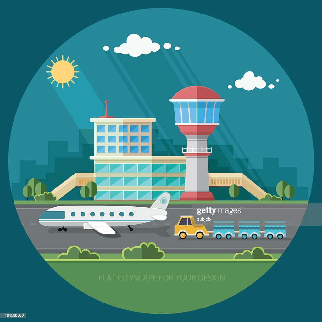 Airport landscape. Travel Lifestyle Concept of Planning. Vacation Tourism