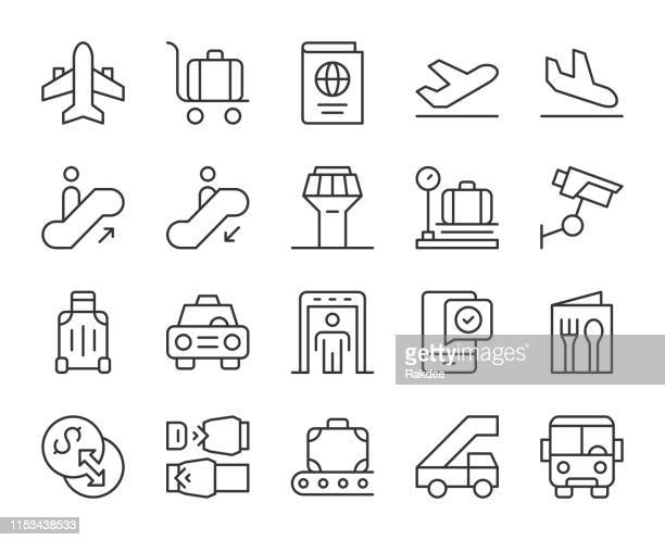 airport - light line icons - security scanner stock illustrations