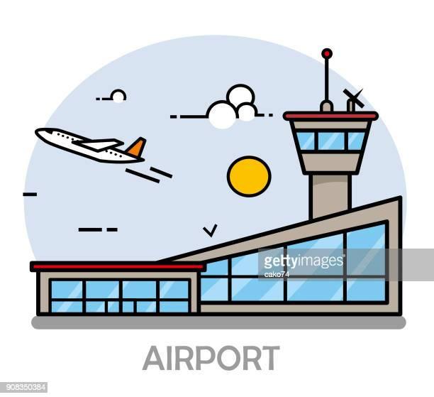 airport line art illustration - airport terminal stock illustrations, clip art, cartoons, & icons