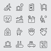Airport line icon set 1