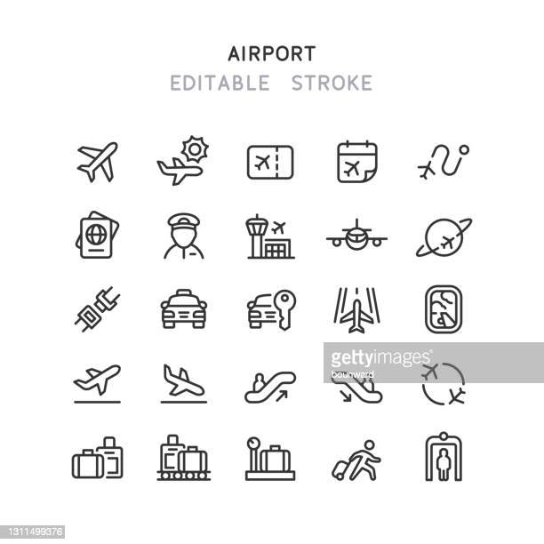 airport line icons editable stroke - security scanner stock illustrations
